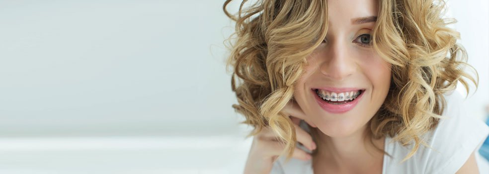 A young girl with braces from our dentists surgery in Chester-le-Street