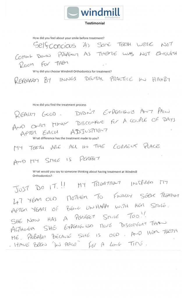 A written Testimonial for orthodontics in York